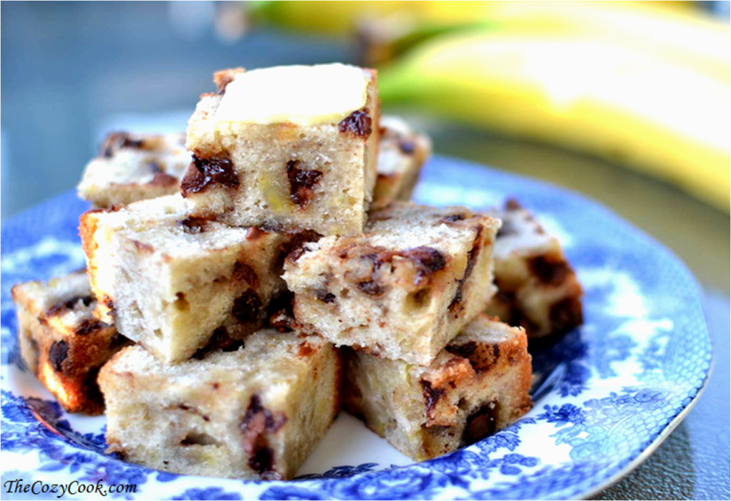 Chocolate Chip Banana Bread Bites - The Cozy Cook