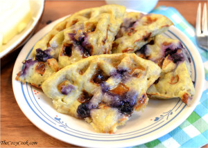 3-Ingredient Banana Blueberry Waffles