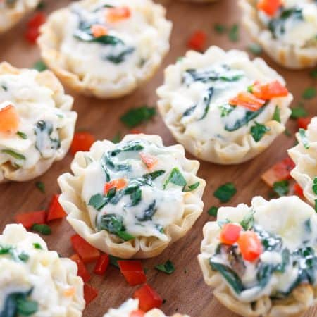 Spinach and Artichoke Dip Phyllo Cups