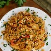 Chicken Noodle Stir Fry in Peanut Sauce