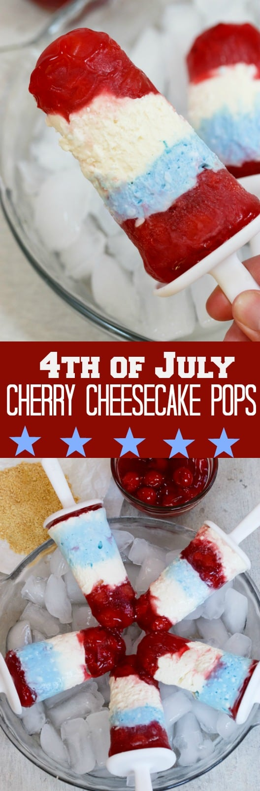 4th of July Cherry Cheesecake Popsicles