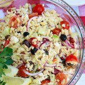 Greek Orzo Salad {w/ a homemade feta dressing recipe}