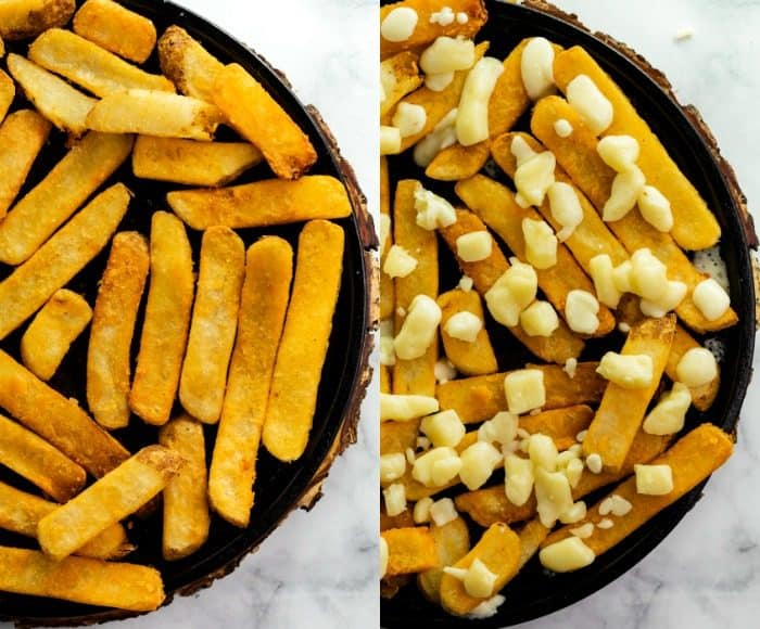 collage of french fries and cheese curds.