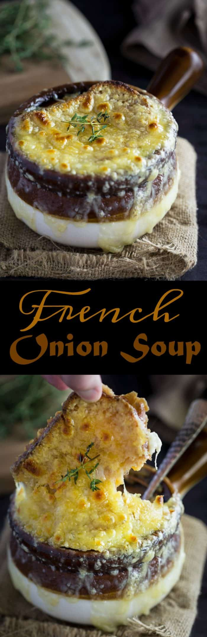 This classic French Onion Soup has a rich, silky broth made from thinly sliced onions, butter, white wine, beef broth, fresh thyme and bay leaves. All topped with a toasted baguette and hot, bubbly Gruyere cheese. | The Cozy Cook | #soup #frenchonionsoup #onions #recipe #easyrecipes #winterrecipes #gruyere