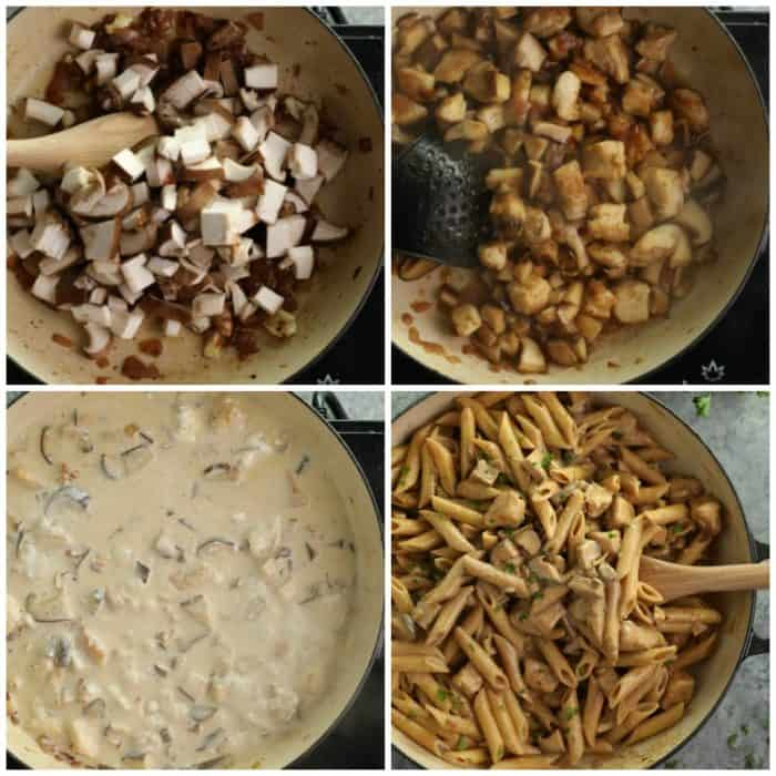 overhead process shots of mushrooms cooking and making pasta da vinci sauce and mixing in penne pasta