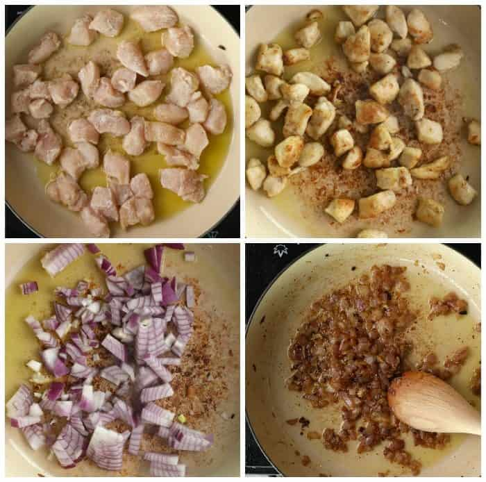 Overhead process shots of cubed chicken being seared and red onions caramelizing