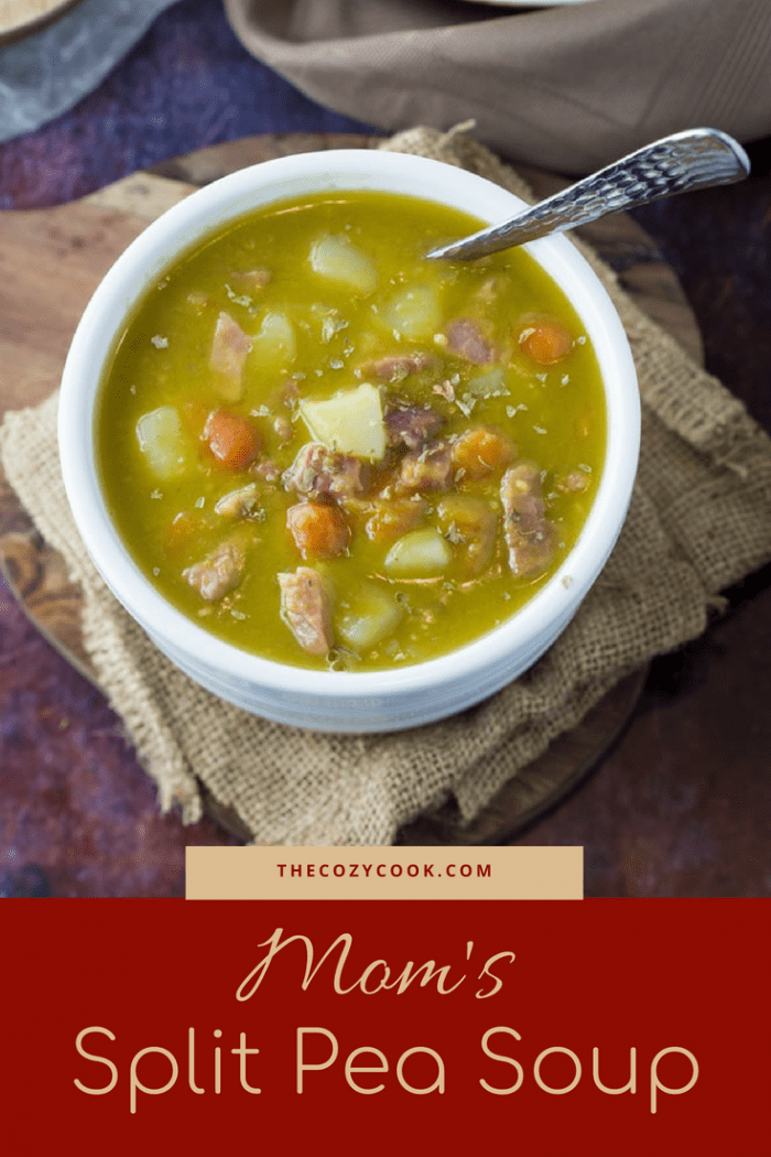 Carrots, onions, potatoes, split peas ham blend perfectly together in this rich and flavorful split pea soup recipe that comes straight from mom! | The Cozy Cook | #soup #peas #comfortfood #ham #peasoup