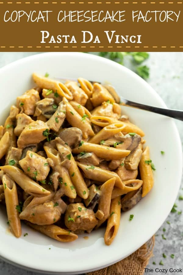 This Cheesecake Factory Copycat recipe for Pasta Da Vinci is easy to make at home and is full of flavor! The savory pasta is surrounded by a creamy marsala wine sauce with swirls of caramelized onions and flavorful mushrooms! | The Cozy Cook | #Pasta #Marsala