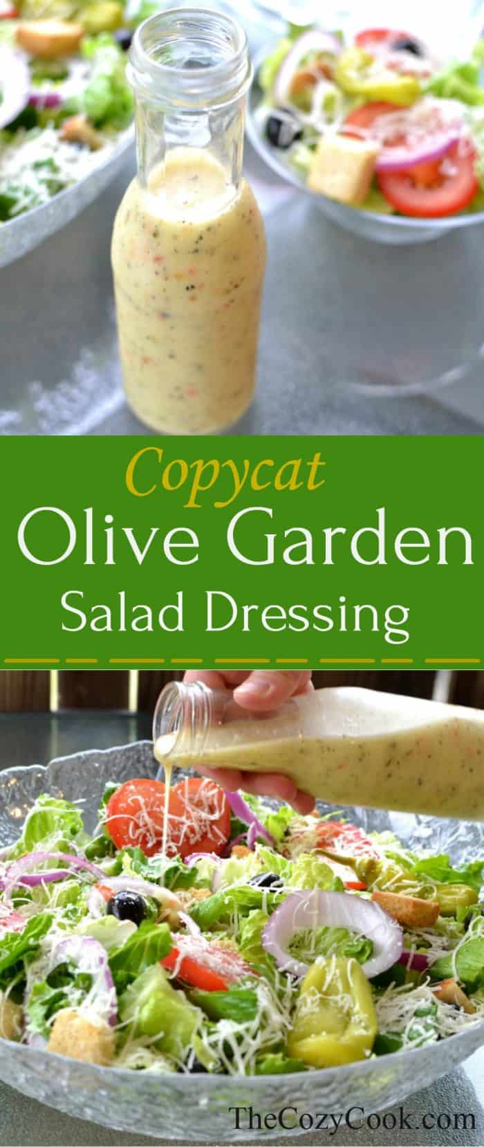 This homemade copycat Olive Garden Salad Dressing is the perfect accompaniment to fresh lettuce and salad ingredients- and so easy to make at home! | The Cozy Cook | #Copycat #SaladDressing #OliveGarden #Italian #Vegetarian #Healthy #ItalianSaladDressing #CopycatOliveGarden