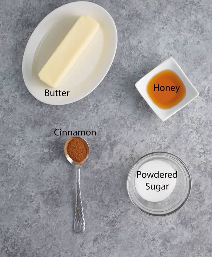 Overhead image of ingredients needed for Texas Roadhouse honey butter