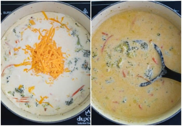 Side by side of dutch oven with half and half and melted cheese, and of finished broccoli cheddar soup.
