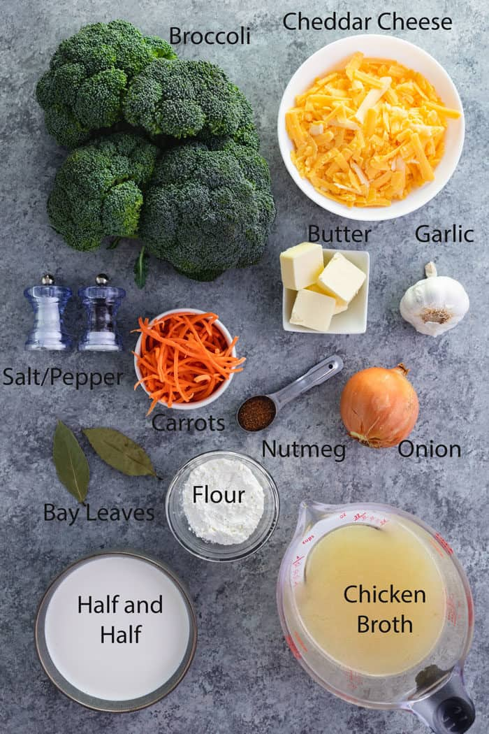 overhead shot of ingredients for broccoli cheddar soup