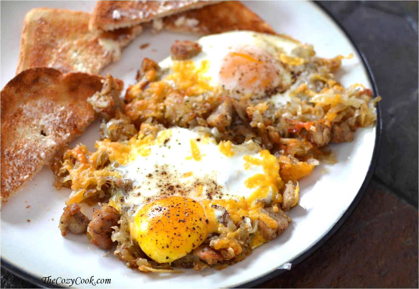 Crispy Hash and Eggs Breakfast Skillet