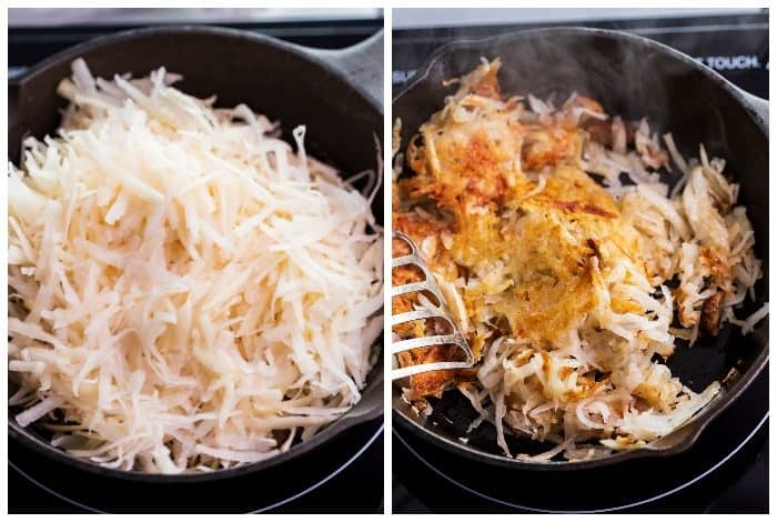 A side-by-side before and after shot of uncooked hash, and cooked hash.