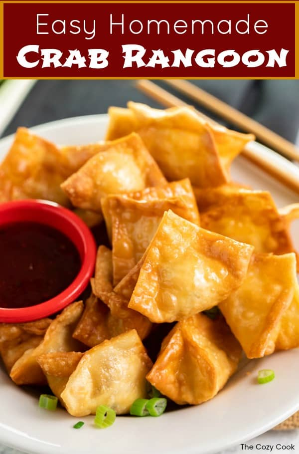 Crispy wontons are baked or fried to golden perfection and filled with an easy cream cheese Crab Rangoon filling. Plus, they're easy to make ahead of time for seamless entertaining!  | The Cozy Cook | #appetizers #crabrangoon