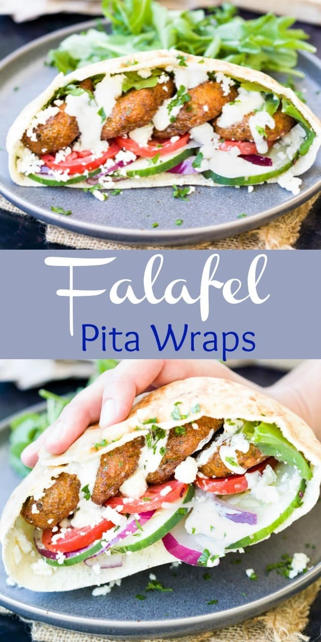 These homemade Falafel wraps are easy to make at home and so flavorful. They're perfect stuffed in a Pita wrap with vegetables and homemade Tahini sauce. | The Cozy Cook | #Falafel #Greek #MainDish #Meatless #Sandwich #Gyro