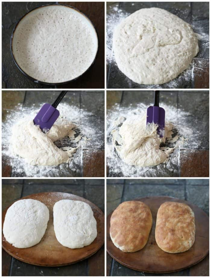 Collage of steps involved in making homemade ciabatta bread.