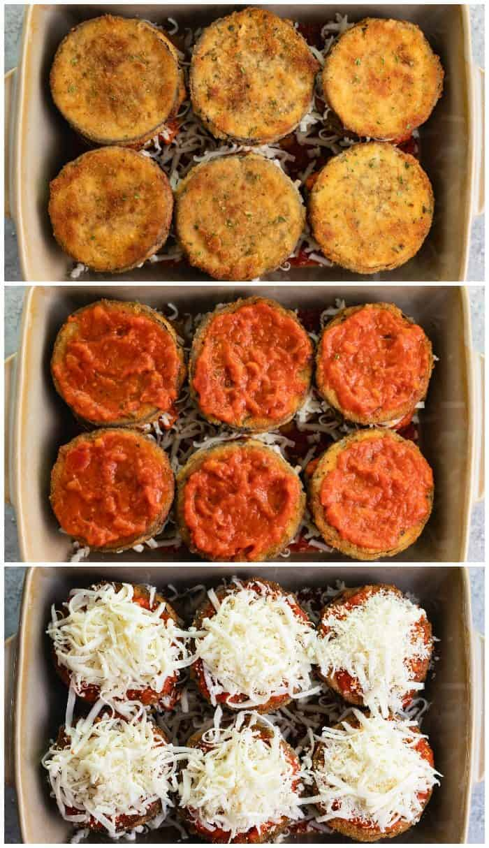 Overhead image showing how to layer ingredients for eggplant Parmesan in casserole dish.
