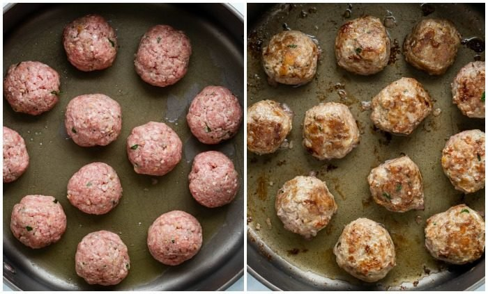 Side by side images of meatballs in a skillet before and after being browned.