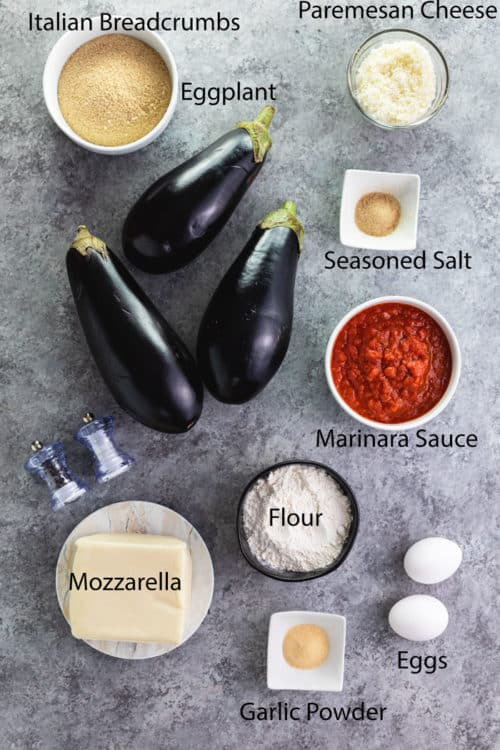 overhead shot of ingredients for eggplant parmesan.