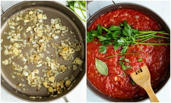 A pot with onions and garlic next to a pot with crushed tomatoes and parsley, and seasonings