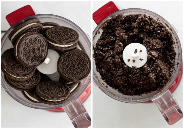 Oreo cookies in a food processor before and after being crushed.