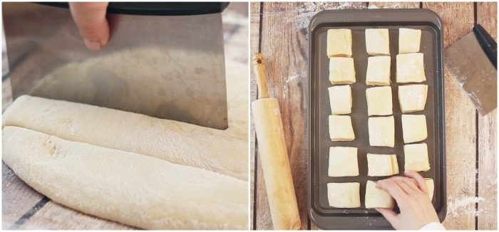 Side by side images of cutting roll dough and placing rolls on baking sheet