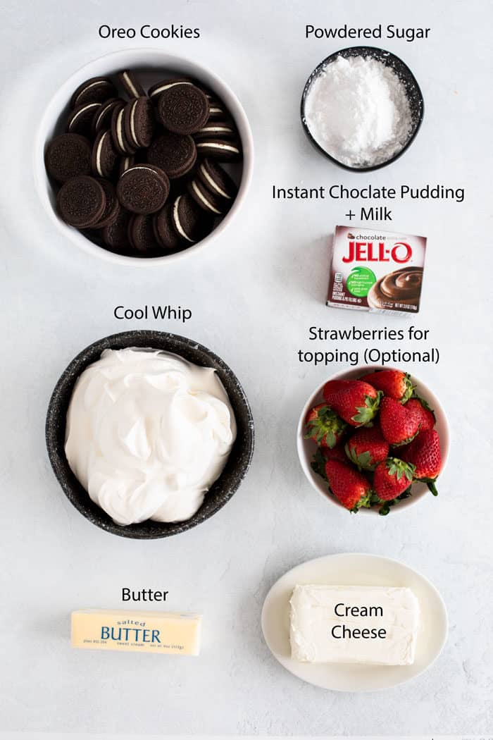 overhead view of ingredients needed for no-bake Oreo dessert.