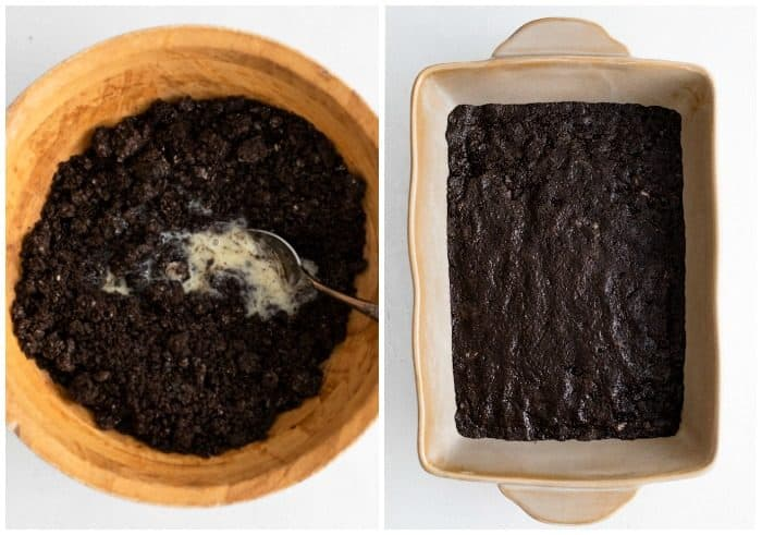 Mixing oreo crust and spreading it into a baking pan.