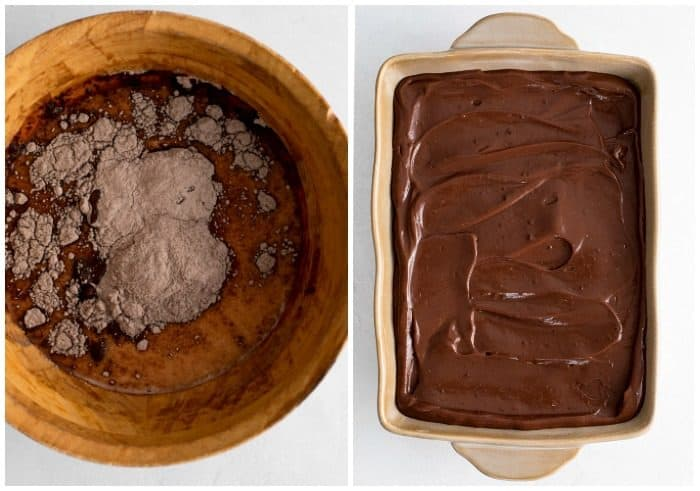 Instant pudding in a bowl before being mixed next to a casserole dish with prepared pudding spread out.