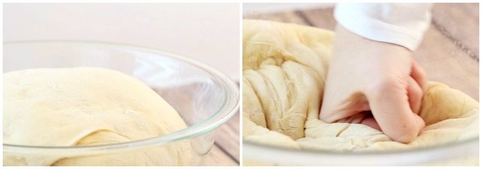 Side by side images of risen roll dough and punching it down