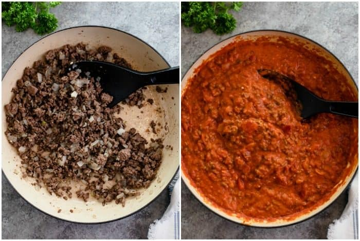 Process shots of ground beef being cooked and marinara sauce being added to large skillet.