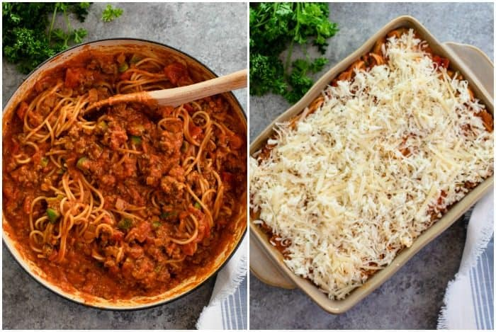 Large skillet full of cooked spaghetti in meat sauce next to a casserole dish with the spaghetti topped with mozzarella.