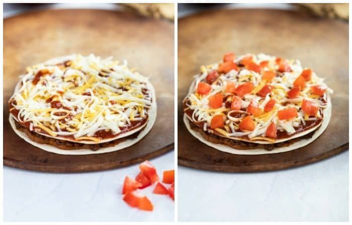 taco bell mexican pizza topped with cheese and toppings before being baked