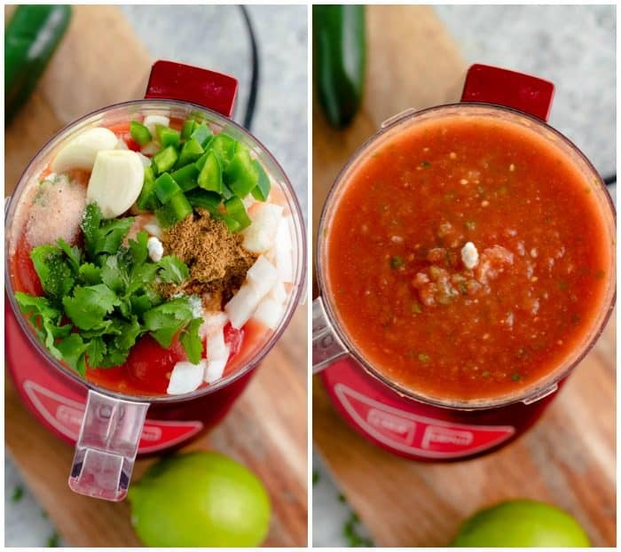 side by side view of food processor before and after homemade salsa ingredients are mixed together.