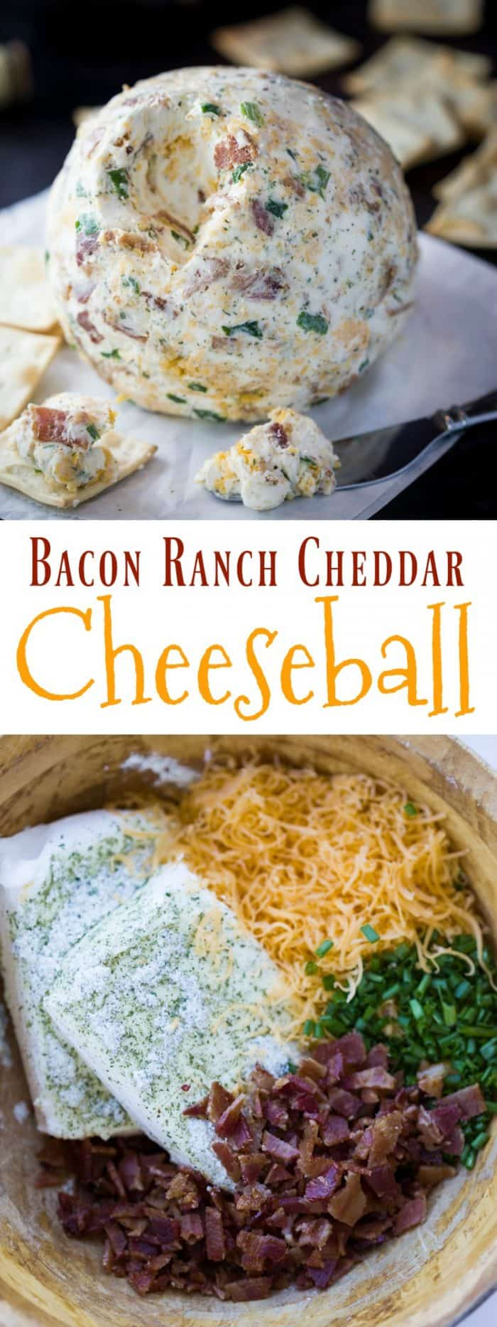 This cheese-ball as a perfect blend of flavors including ranch, crispy bacon bits, 2 kinds of cheese, and chives. A perfectly easy and delicious appetizer! | The Cozy Cook | #cheese #fingerfood #appetizer #bacon #cheddar #cheeseball