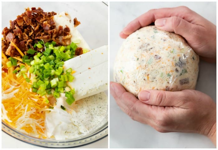 Making a bacon ranch cheddar cheese ball.