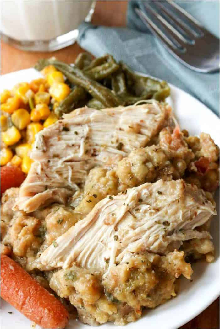 Crockpot Chicken and Stuffing | Easy Slow Cooker Recipes For Thanksgiving | slow cooker recipes for thanksgiving | crockpot turkey