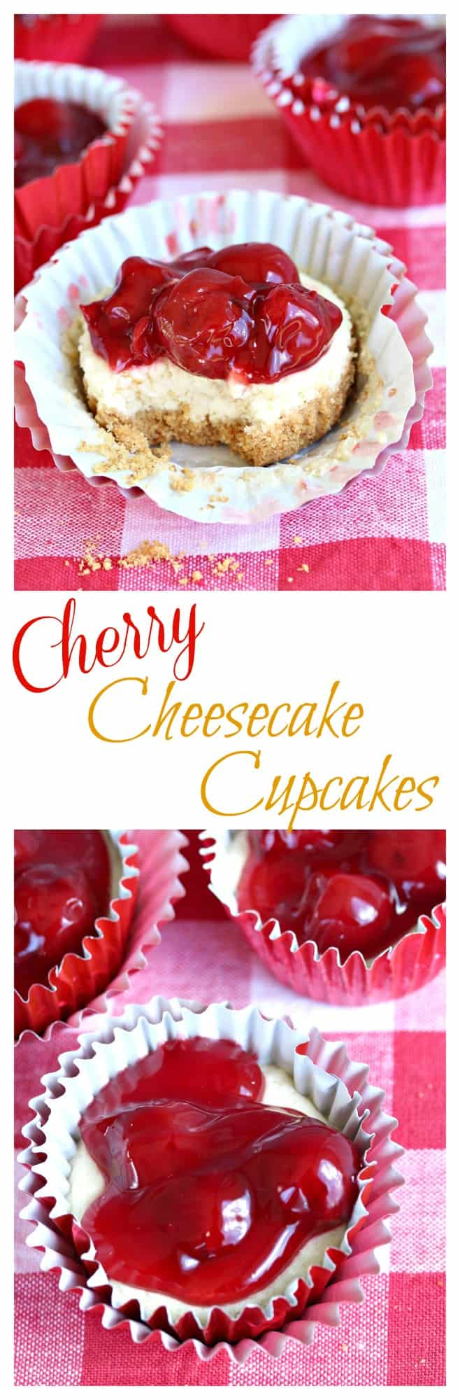 A sweet and buttery graham cracker crust topped with creamy cheesecake filling and mouth-watering cherries. | The Cozy Cook | #cupcakes #cheesecake #dessert #cherries