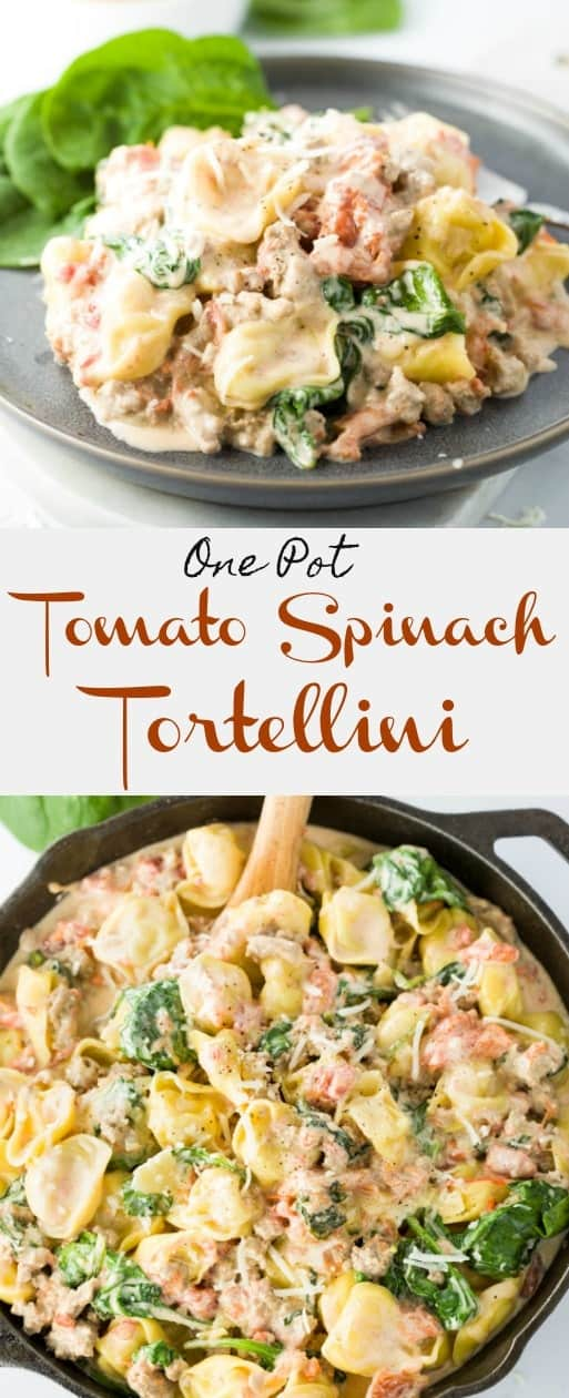 Savory, cheese-filled tortellini in a simple cream sauce with tomatoes, spinach, and sausage! All easily prepared in a single pot! | The Cozy Cook | #pasta #tortellini #italian #maindish #familymeals #comfortfood #creamsauce #onepot #spinach