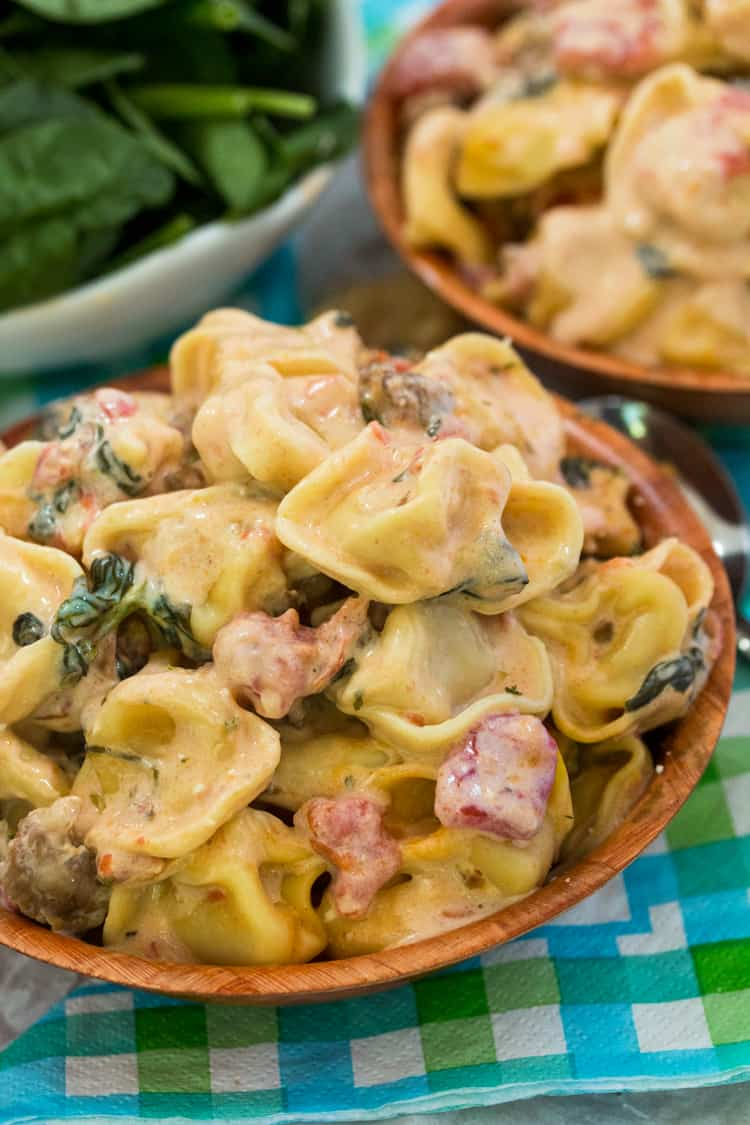 One Pot Tomato Spinach Tortellini {with Sausage}