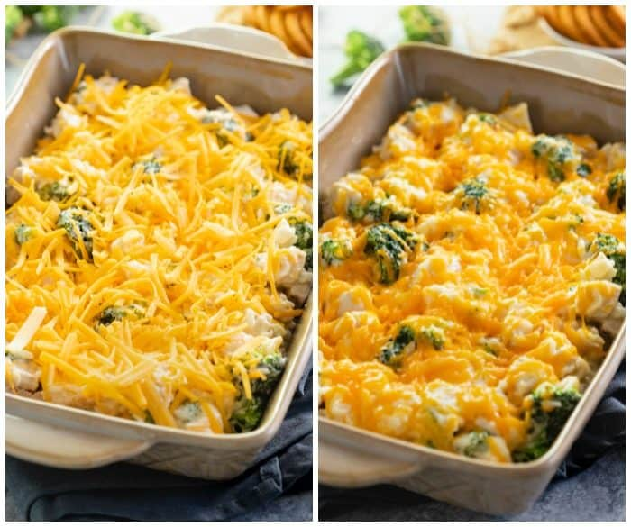 before and after shot of casserole dish filled with broccoli cheddar chicken and rice casserole being baked.