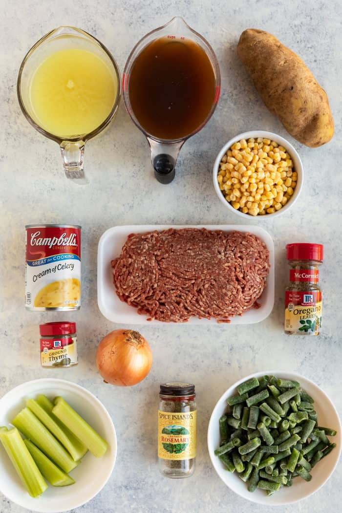 Overhead shot of ingredients needed to make hamburger soup