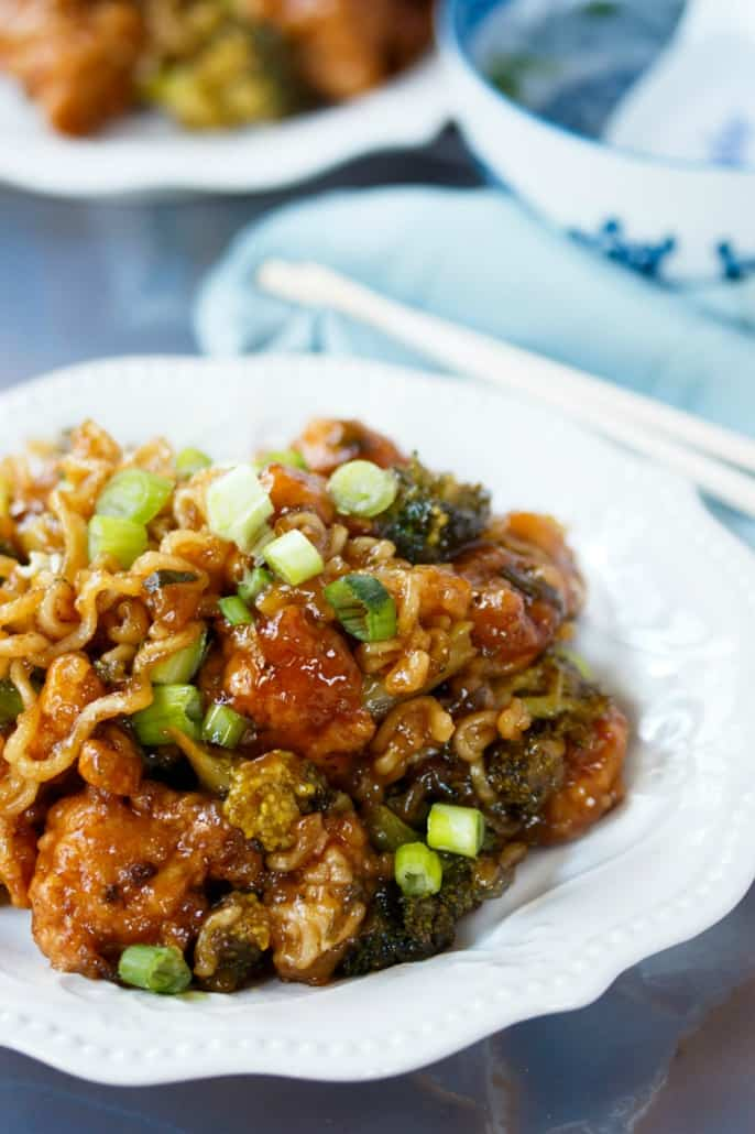 Ramen Noodle General Tso Chicken
