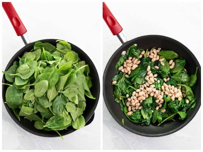 overhead image of uncooked spinach in a pan next to cooked spinach on a pan with white beans.