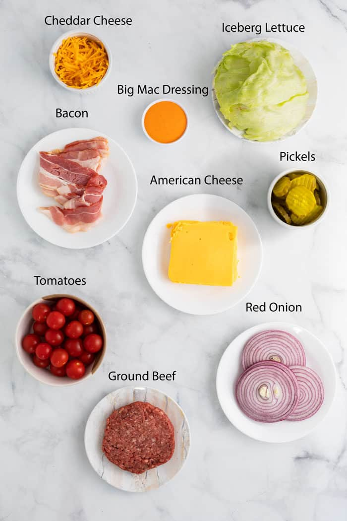 overhead view of ingredients for cheeseburger salad