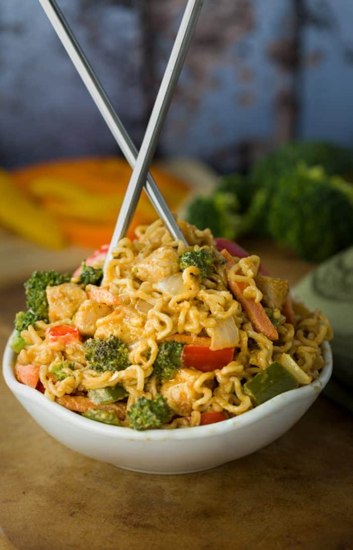 Ramen Noodle Chicken Stir Fry with Peanut Sauce