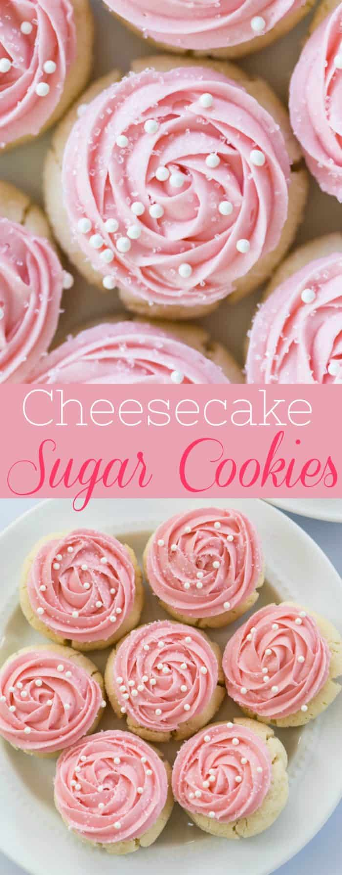 Sweet, chewy sugar cookies topped with a smooth and creamy, cheesecake frosting with an easy floral design.  | The Cozy Cook | #cookies #dessert #mothersdayrecipes #pink #frosting #sugarcookies #holidays #valentinesday