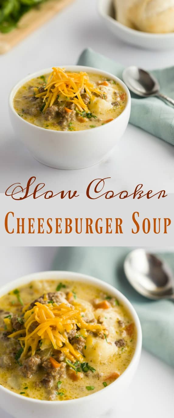 Tender ground beef and vegetables in a thick and creamy cheesy soup, the definition of comfort in a bowl and perfect for cold weather. #soup #cheeseburgersoup #cheese #crockpot #slowcooker #comfortfood