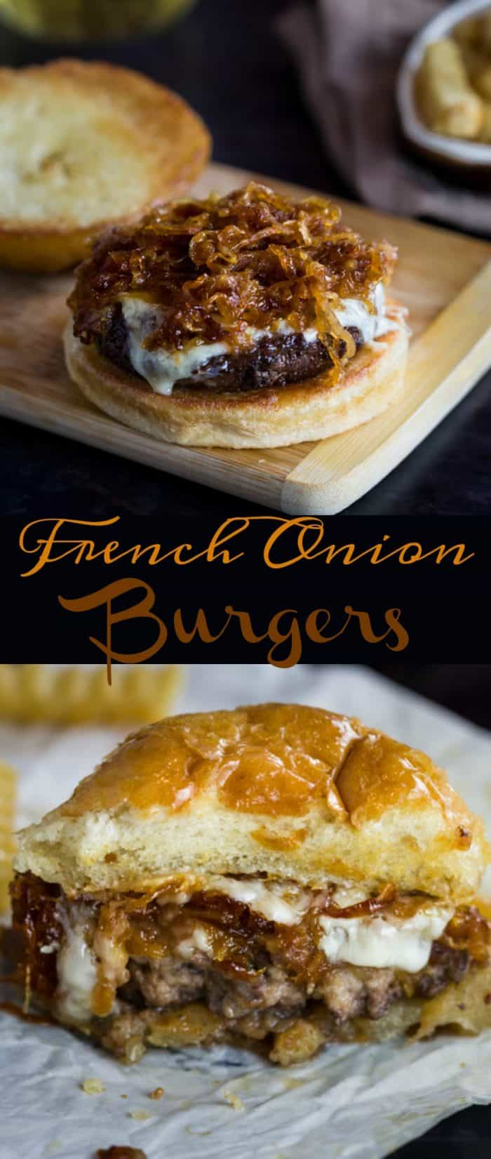 These extra juicy, perfectly cooked burgers are topped with melted Gruyere cheese, caramelized onions, and are served over golden burger buns. #burger #dinner #meat #beef #groundbeef #burgers #onions #recipe #easyrecipes #comfortfood